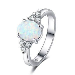 Sterling Silver Fire Opal Gemstone Wedding Ring